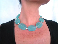 exquisite translucent faceted faux Amazonite ovals